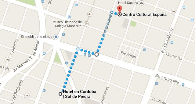 Mapa del centro cultural españa cordoba y hotel sol de piedra